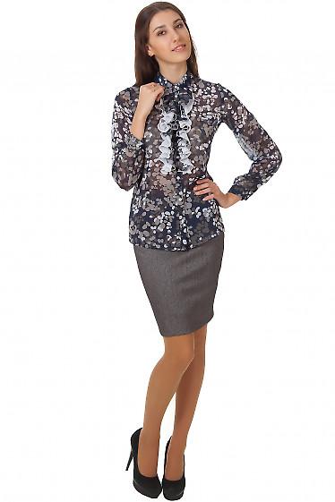 Фото Юбка серая в елочку Деловая женская одежда