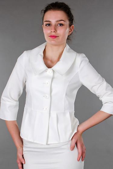 Фото Жакет белый с три четвертным рукавом Деловая женская одежда