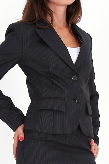 Фото Жакет черный классический в полоску вид сбоку Деловая женская одежда
