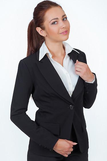 Фото Жакет удлиненный черный Деловая женская одежда