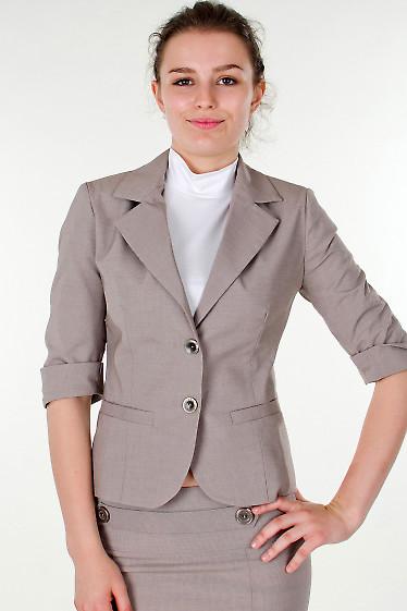 Фото Жакет в мелкую бежевую полоску Деловая женская одежда