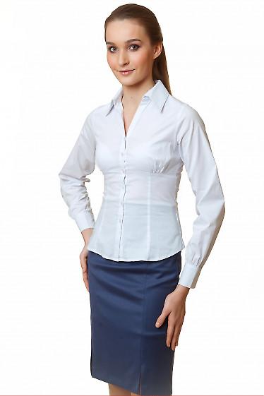 Фото Блузка белая приталенная Деловая женская одежда