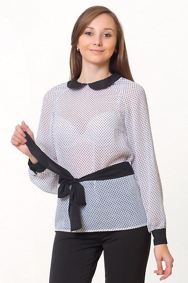 Блузка белая в черный горошек с черным воротником Деловая женская одежда