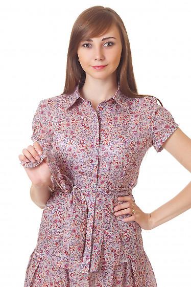 Блузка бежевая в бордовый цветочек Деловая женская одежда
