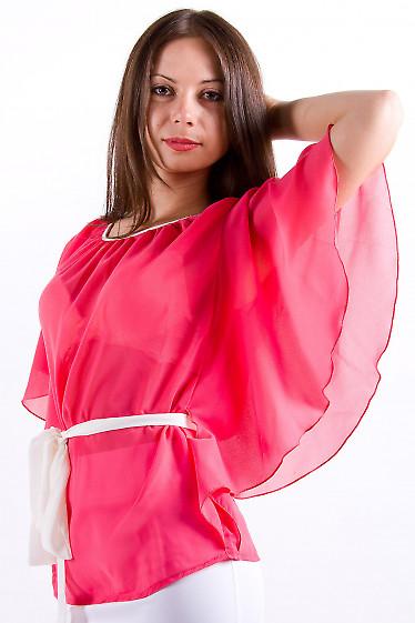 Фото Блузка из шифона коралловая Деловая женская одежда