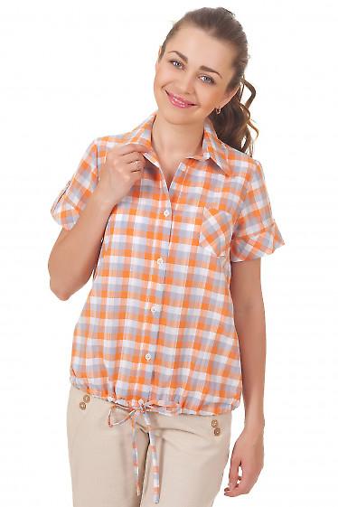 Блузка на кулисе в оранжевую клетку Деловая женская одежда