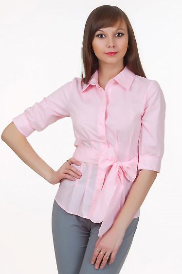Блузка розовая с защипами под грудью Деловая женская одежда