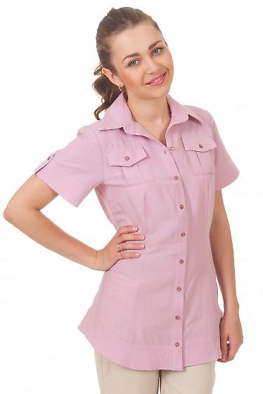 Блузка удлиненная розовая Деловая женская одежда