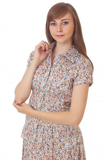 Блузка в голубой цветочек Деловая женская одежда