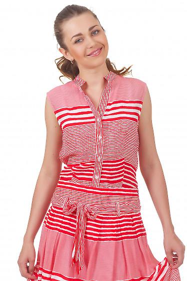 Блузка в красную полоску Деловая женская одежда