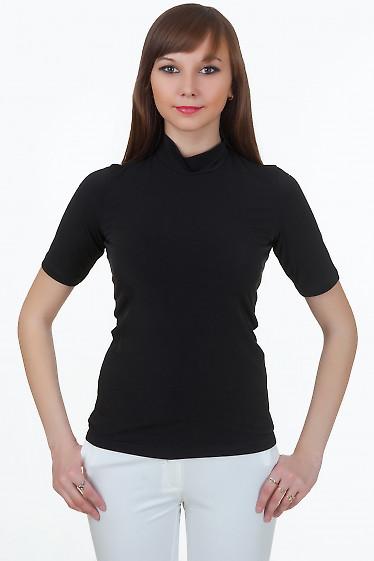 Гольф черный с коротким рукавом Деловая женская одежда
