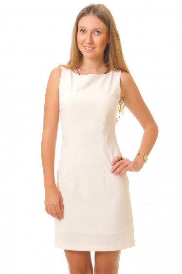 Классическое светлое платье Деловая женская одежда
