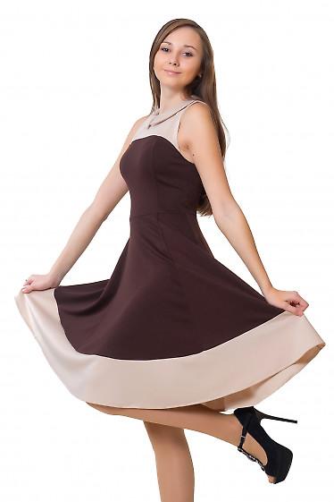 Платье коричневое с карманами Деловая женская одежда