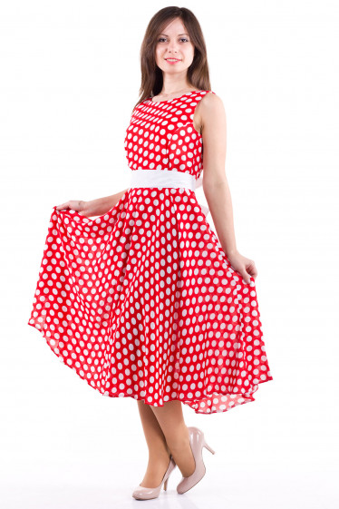 Фото Платье красное в белый горох Деловая женская одежда