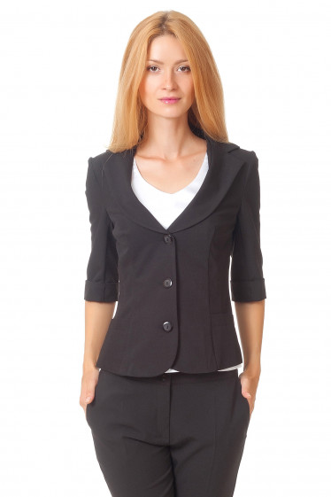 Жакет классический черный с коротким рукавом Деловая женская одежда