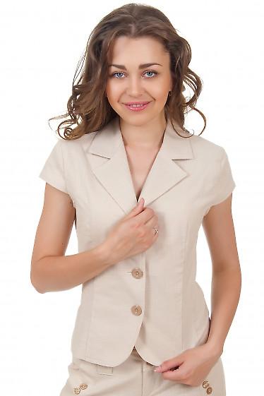 Жакет льняной бежевый с коротким рукавом Деловая женская одежда
