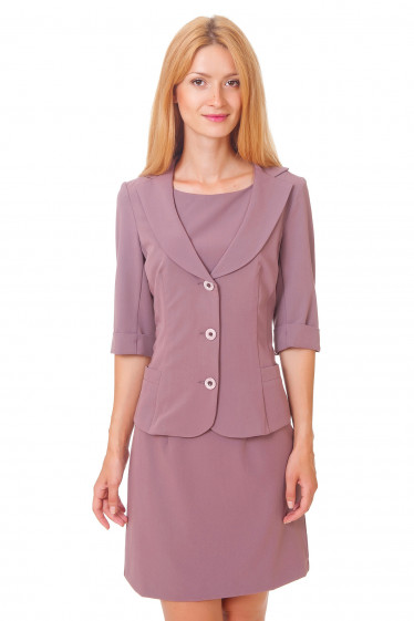 Жакет розовый с коротким рукавом Деловая женская одежда