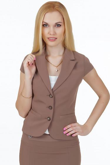 Жакет темно-бежевый с коротким рукавом Деловая женская одежда