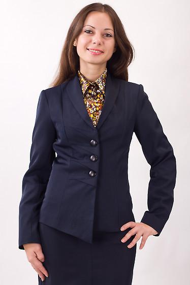 Фото Жакет темно-синий с декоративными защипами Деловая женская одежда