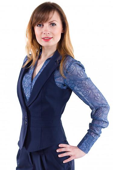 Фото Жилетка синяя с воротником Деловая женская одежда