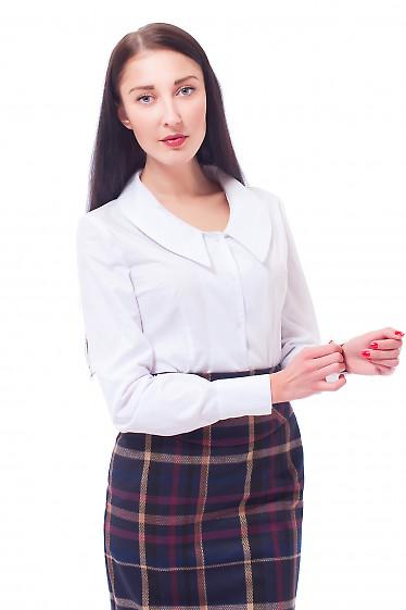 Блузка белая с острым воротником Деловая женская одежда
