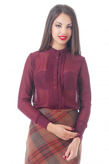 Купить блузку бордовую без воротника со складками Деловая женская одежда