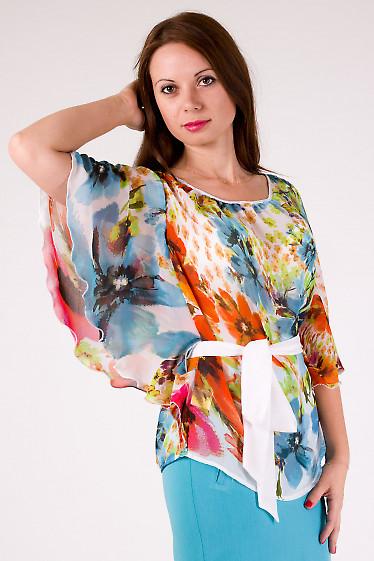 Фото Блузка из шифона в цветы Деловая женская одежда