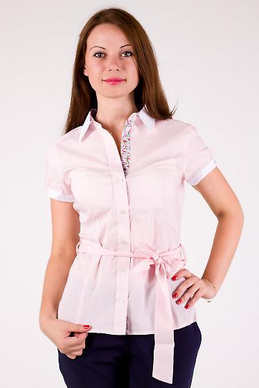 Фото Блузка летняя с цветочными вставками Деловая женская одежда