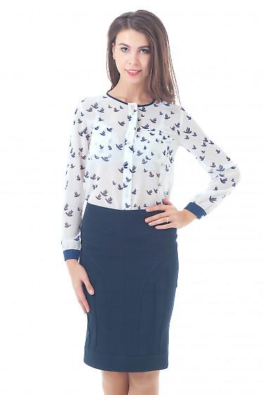 Купить блузку молочную в птички без воротника Деловая женская одежда