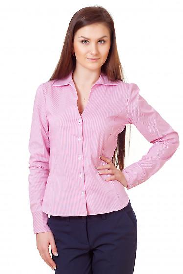 Блузка в красную мелкую полоску Деловая женская одежда