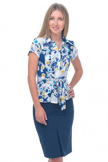 Блузка в разноцветные одуванчики Деловая женская одежда