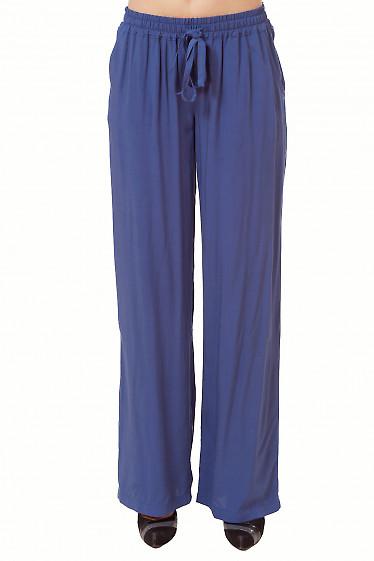 Брюки темно-синие из штапеля Деловая женская одежда
