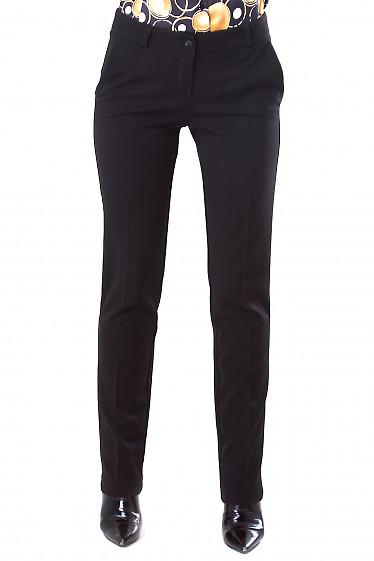 Фото Брюки теплые черные прямые Деловая женская одежда