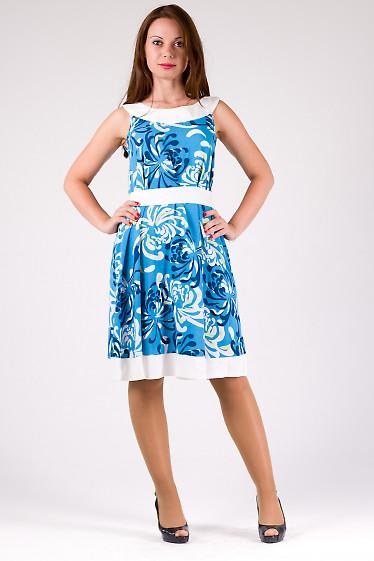 Фото Платье-трапеция голубое в белые цветы Деловая женская одежда