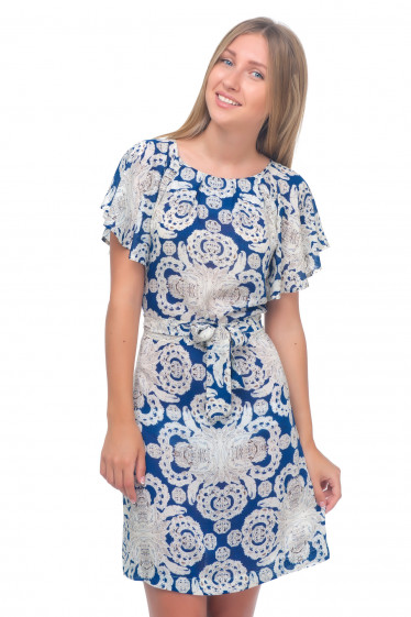 Платье бежевое с синим узором Деловая женская одежда
