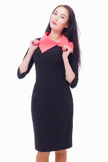 Платье черное с розовым воротником Деловая женская одежда