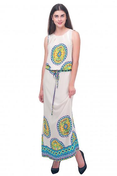 Платье длинное молочное Деловая женская одежда
