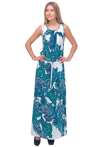 Платье длинное в бирюзовый узор Деловая женская одежда