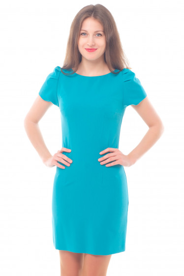 Платье голубое с рукавом-фонариком Деловая женская одежда