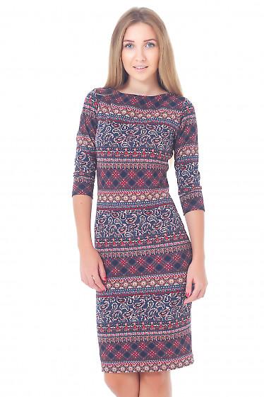 Платье трикотажное с красным узором Деловая женская одежда