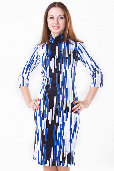 Фото Платье в синюю геометрию Деловая женская одежда