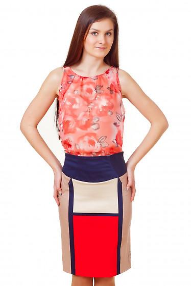 Топ коралловый в цветочки Деловая женская одежда