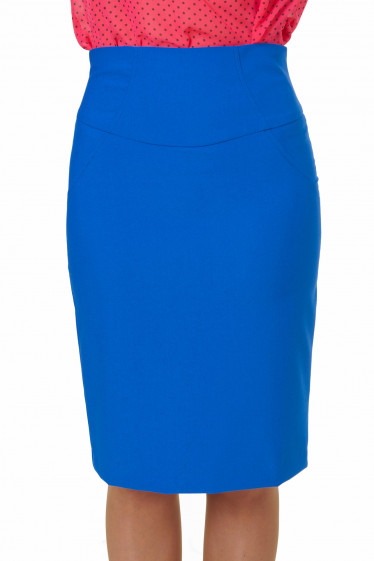 Юбка индиго с высокой талией Деловая женская одежда