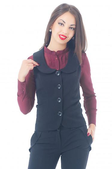 Купить жилетку черную удлиненную Деловая женская одежда