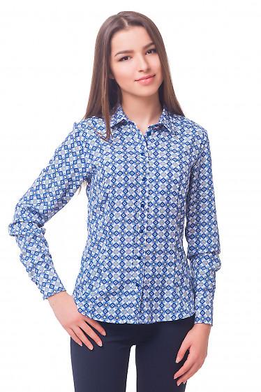 Блузка белая в синие ромбики Деловая женская одежда