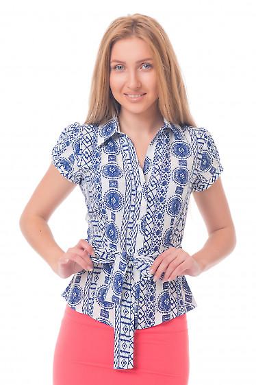 Блузка летняя с синим узором Деловая женская одежда