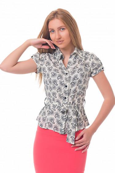 Купить блузку молочную в черные цветы Деловая женская одежда