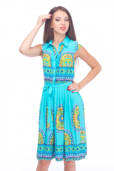 Платье голубое с защипами и складками Деловая женская одежда
