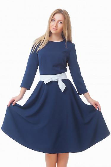 Платье синее с юбкой миди Деловая женская одежда