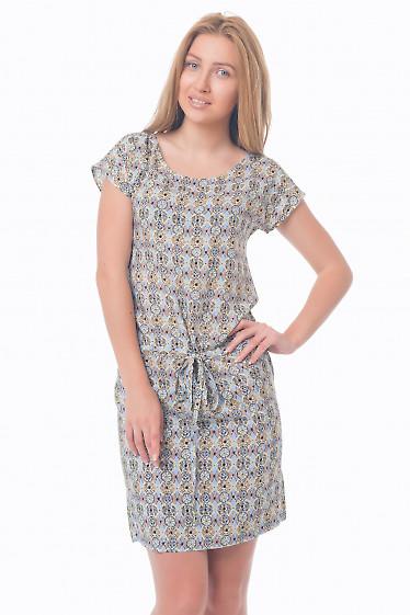 Платье в голубой узор Деловая женская одежда